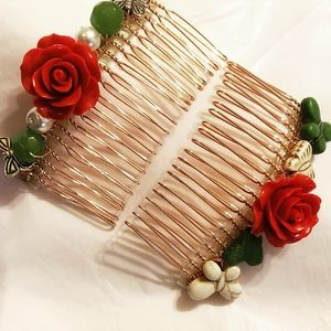 Mexican Style Rose/butterflies Haircombs